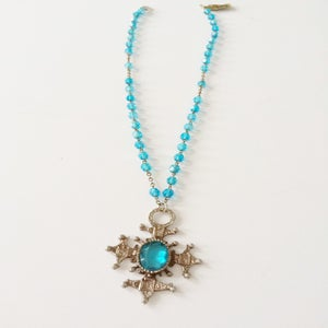 Image of 1960's Turquoise & Silver Crucifix Necklace