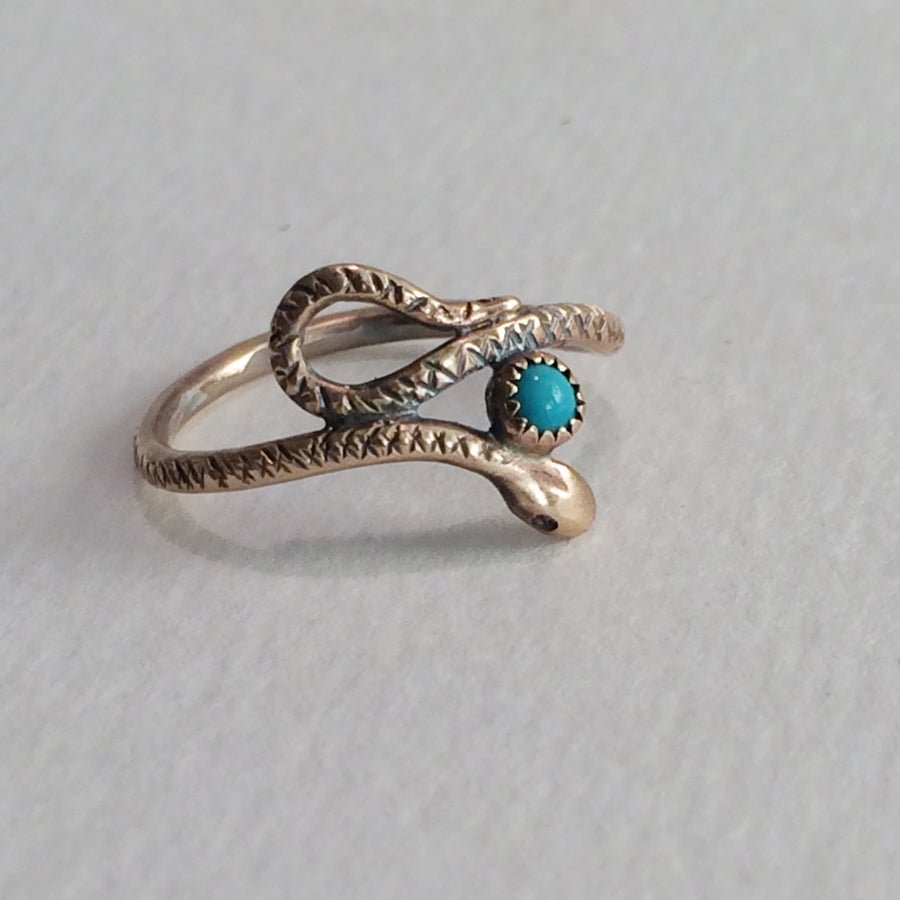 Image of Golden Serpent in solid 14 Kt with turquoise, Made to order