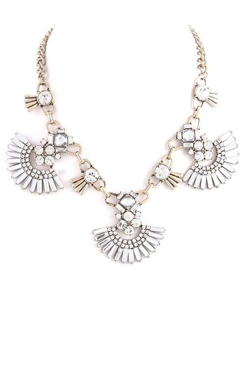 Image of Gemmed Fan Necklace