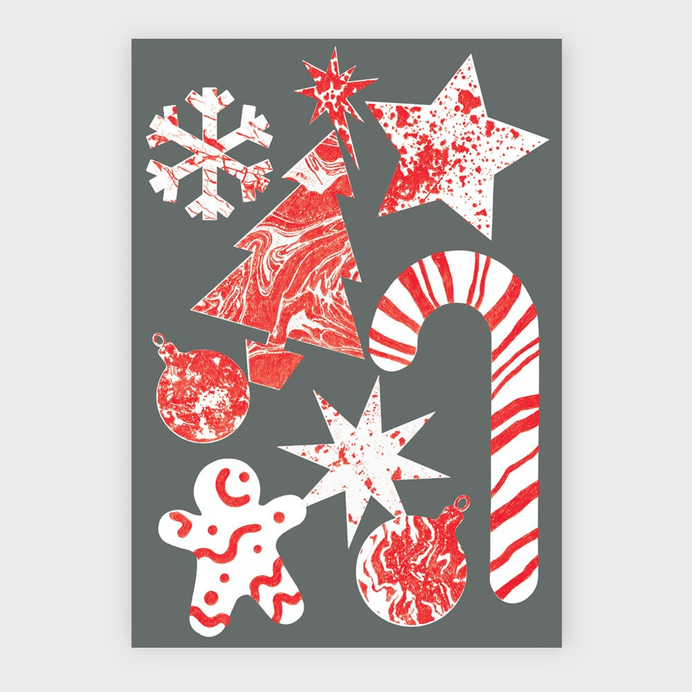 Image of Christmas Symbols Greetings Card