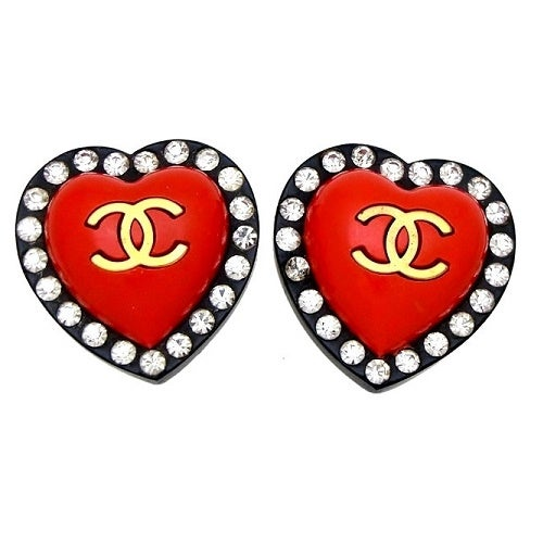 Image of SOLD Chanel 1995 Red Heart Rhinestone Logo Earrings in Mint Condition