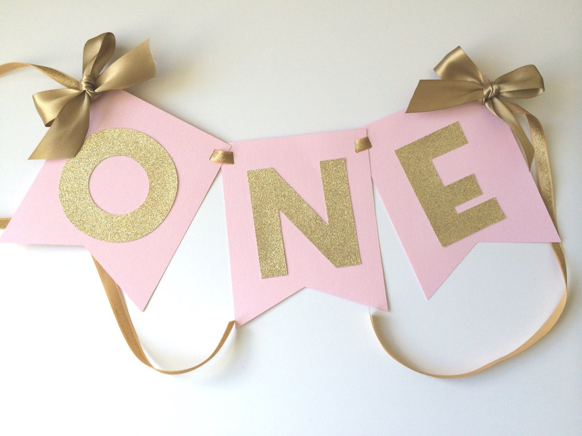 Paper trail by laura b high chair banner in pink gold for 1 birthday decoration images