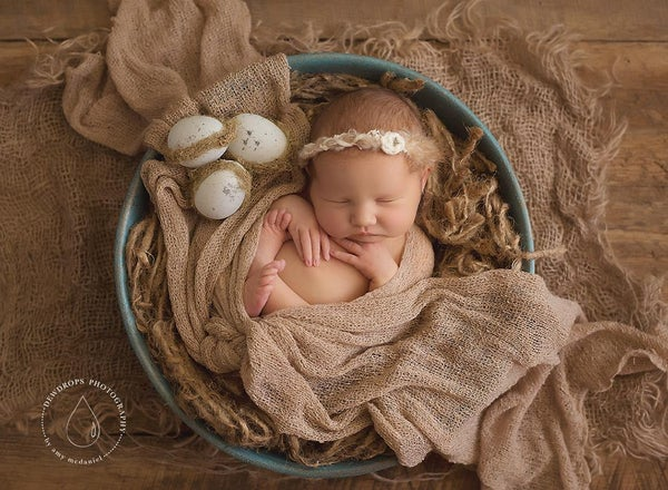 "Image of Robin's Egg Blue, Hand Painted ""Nesting Bowl"" with Nesting, 3 eggs and Burlap layering piece!"