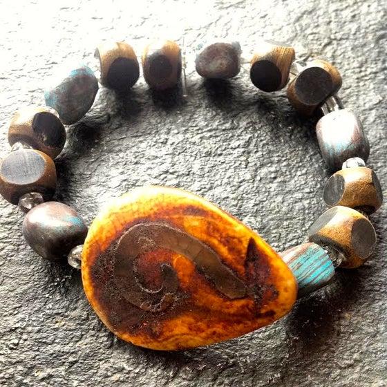 Image of Eye of Buddha Tribal, Blue Apatite and Wood Bracelet