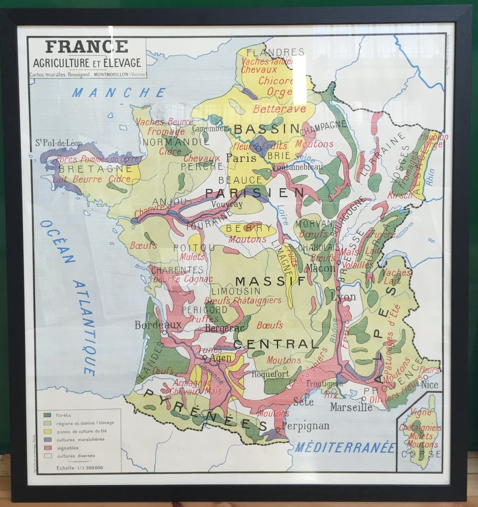 Image of 1950s French School Map of France - Agriculture