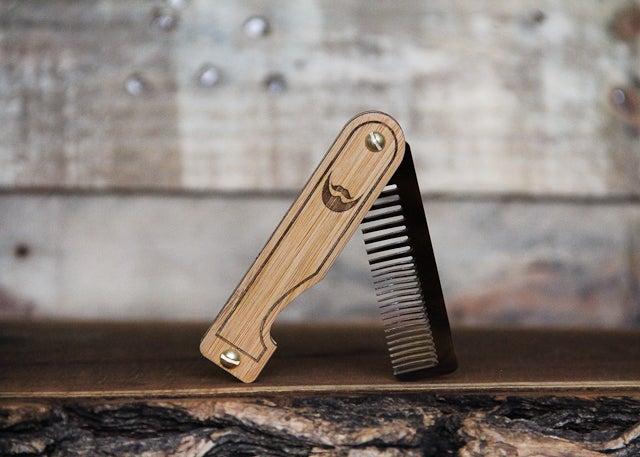 Image of Personalized Handmade Folding Wood Beard Comb - Tigerlily Marble Acrylic