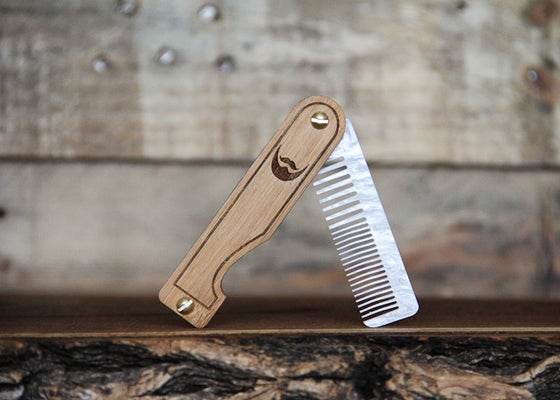 Image of Personalized Handmade Folding Wood Beard Comb - White Marble Acrylic