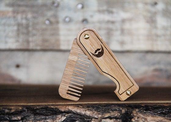 Image of Personalized Handmade Folding Real Wood Beard Comb