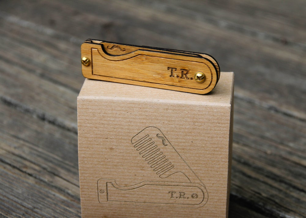 Image of Personalized Handmade Folding Real Wood Beard Comb