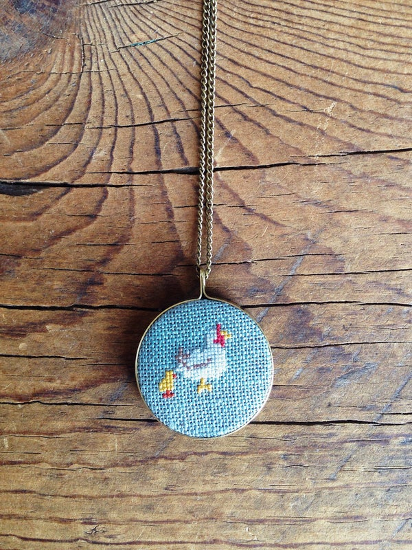 Image of Mama Hen Cross Stitched Pendant