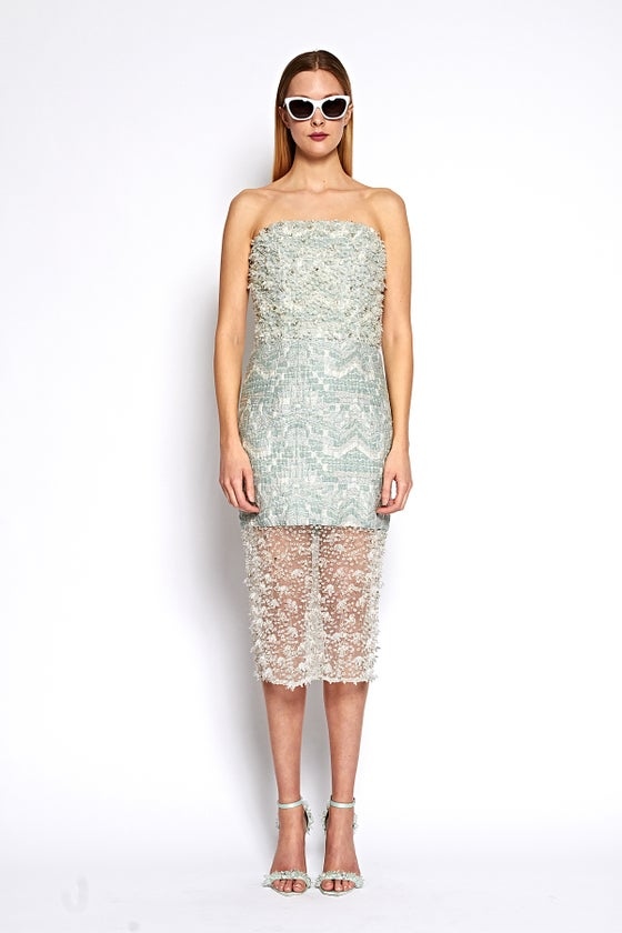 Image of Brocade and Crystal Beaded Strapless Cocktail Dress