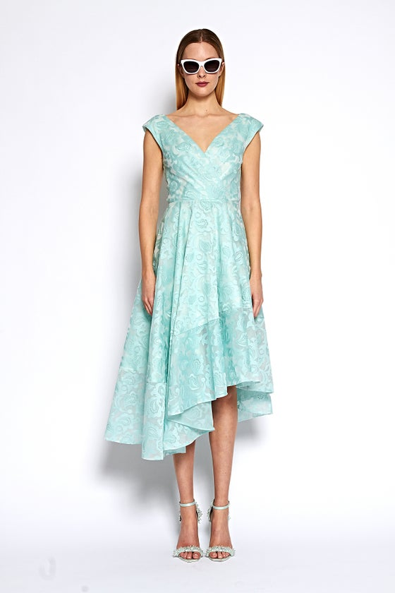 Image of Paisley Organza Asymmetrical Hem Dress
