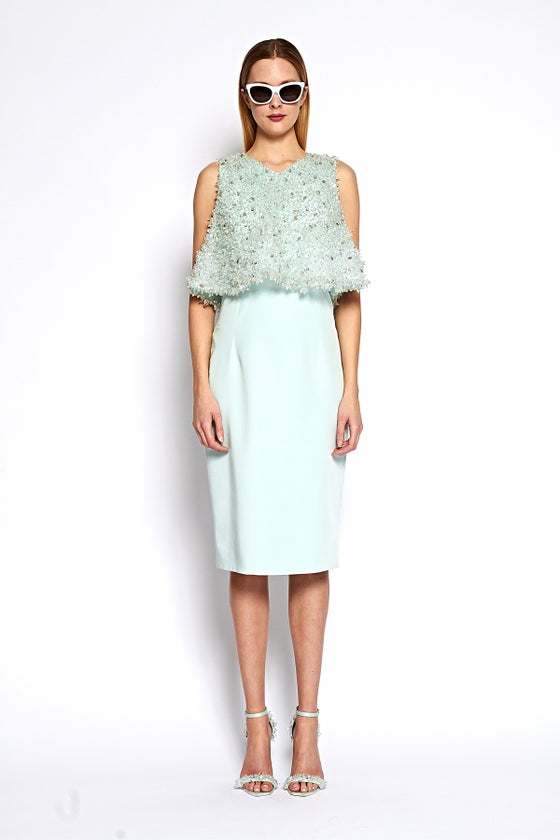 Image of Crystal Beaded Overlay Dress