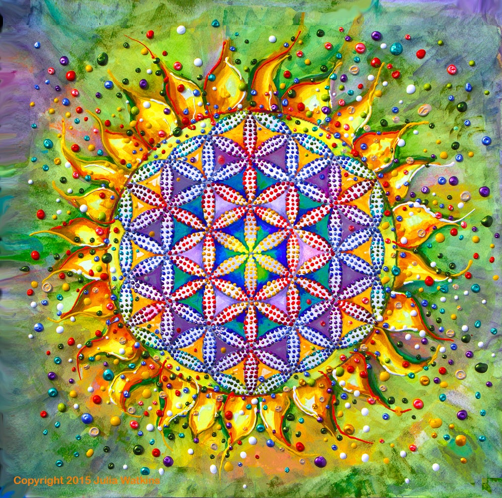 Image of Flower Of Life Sacred Energy Painting - Giclee Print