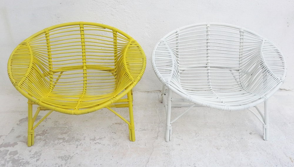 Image of Fauteuil rotin design - Vintage