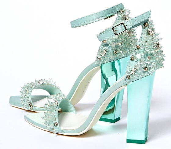 Image of Crystal Beaded Ankle Strap Heel