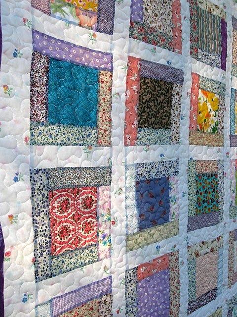 "Image of crib quilt, toddler quilt,baby girl farmhouse quilt, lap quilt, - 39"" x 48"" - reversible"