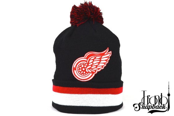 Image of DETROIT REDWINGS BLACK NHL MITCHELL & NESS WINTER BEANIE