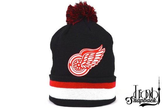Image of DETROIT REDWINGS BLACK NHL MITCHELL & NESS WINTER BEANIE
