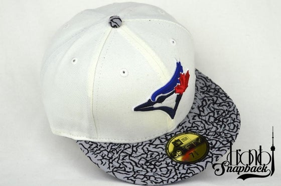 "Image of TORONTO BLUEJAYS CUSTOM AIR JORDAN 3 RETRO ""TRUE BLUE FITTED"