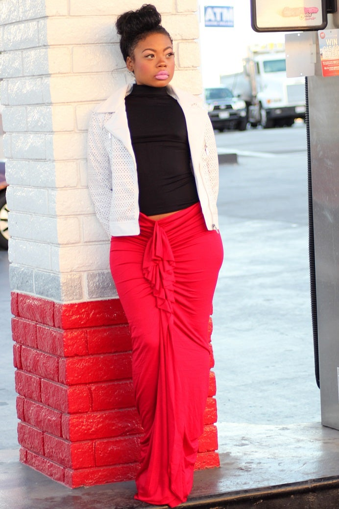 Image of Philthy Ragz Red Ruffle Maxi Pre-Order