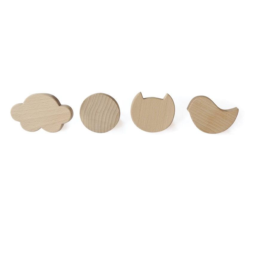 Image of Set de patères en bois de hêtre nature