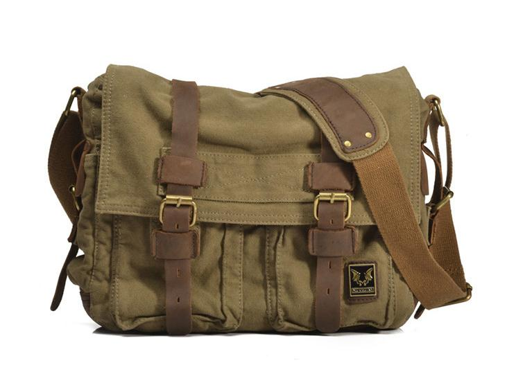 i-Cam — Vintage Green Leather Canvas Bag School Bag Messenger ...