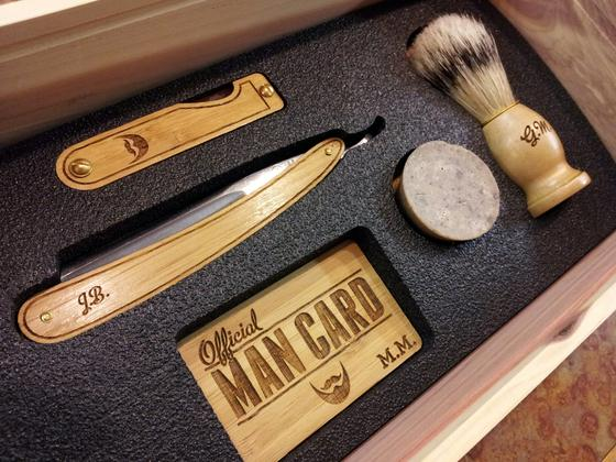 Image of Personalized Handmade Straight Razor Cigar Box Shave Kit