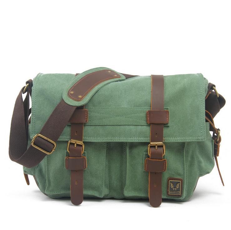 i-Cam — Coral Green Canvas Leather Camera Bag Leisure Shoulder Bag ...