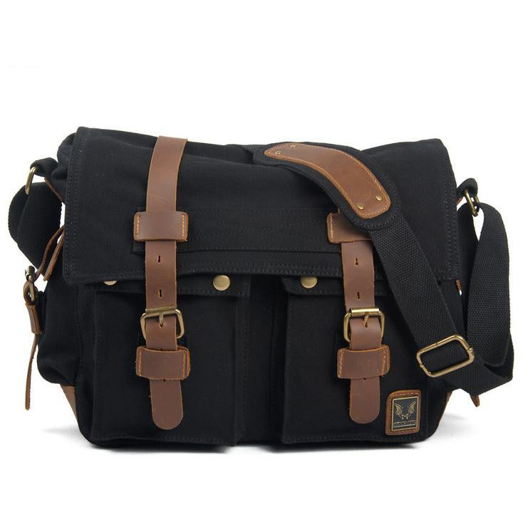 i-Cam — Black Canvas Leather Camera Bag Leisure Shoulder Bag ...