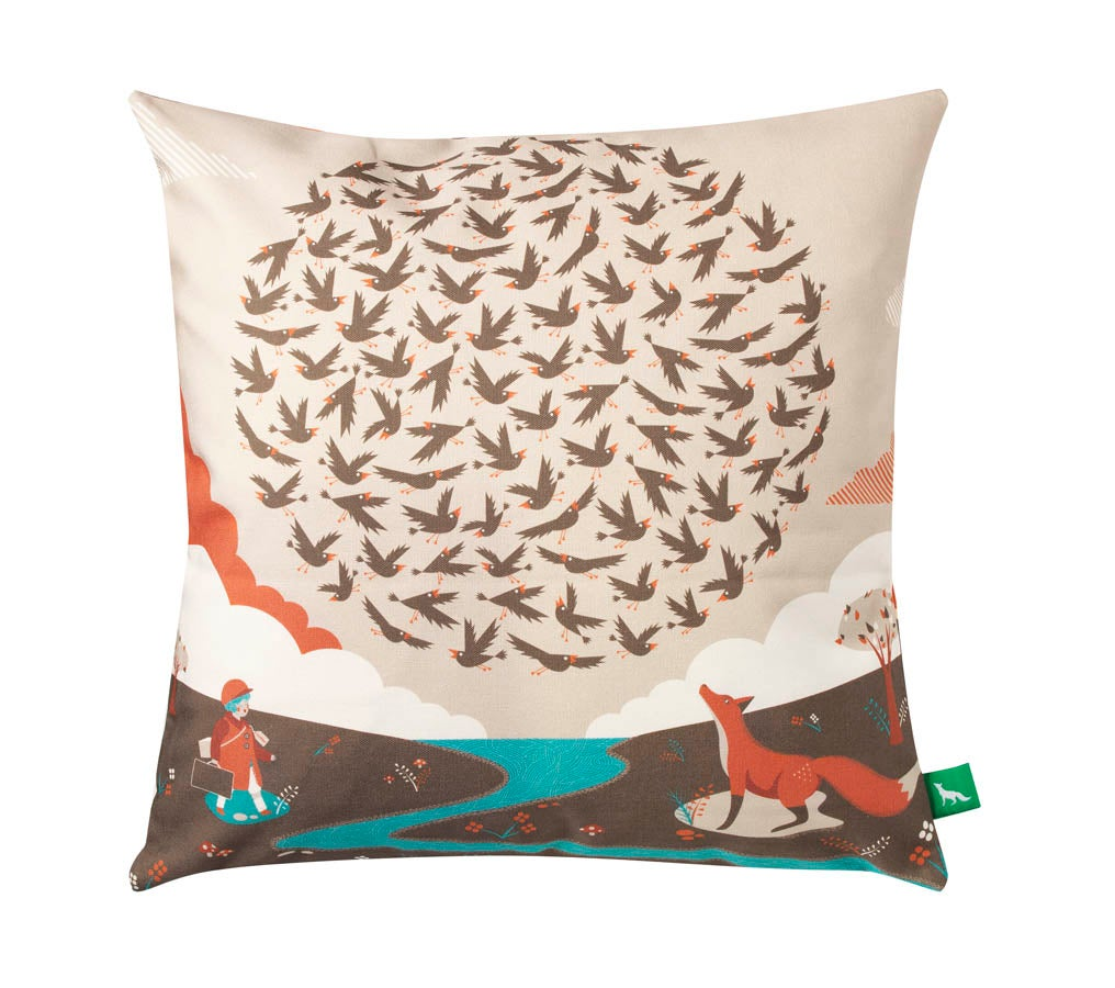 "Image of ""100 Starlings Rising"" Cushion Cover"