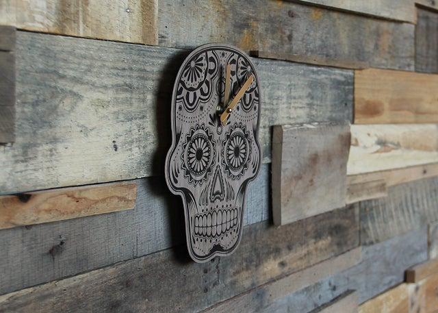 Image of Handmade Wood Dia de los Muertos Sugar Skull Clock - Walnut