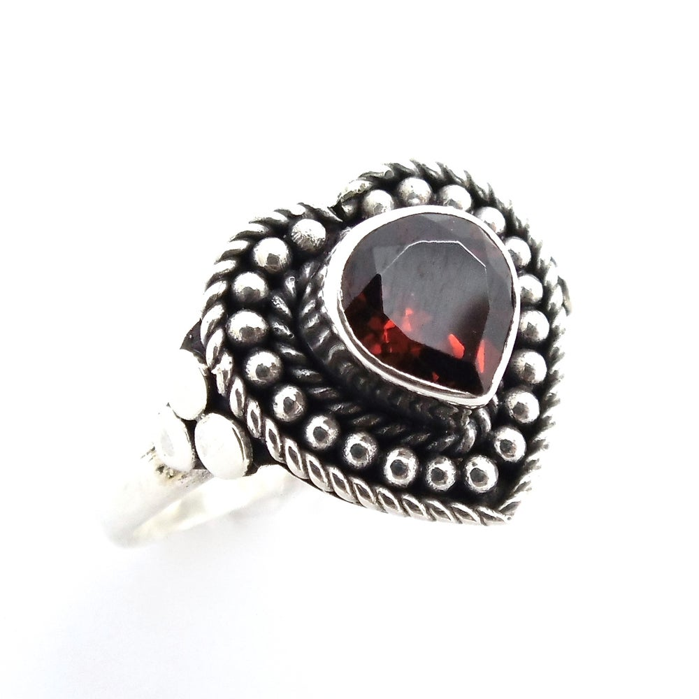 Image of Sterling Silver Garnet Love Spell Ring