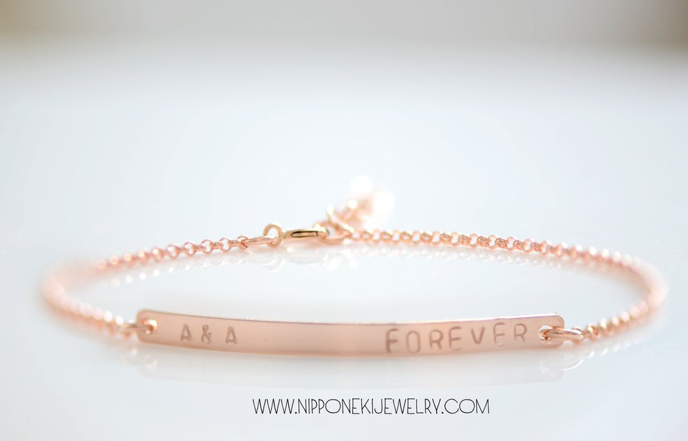 Image of ROSE GOLD SKINNY BAR BRACELET - CUSTOMIZED NAME PLATE BRACELET