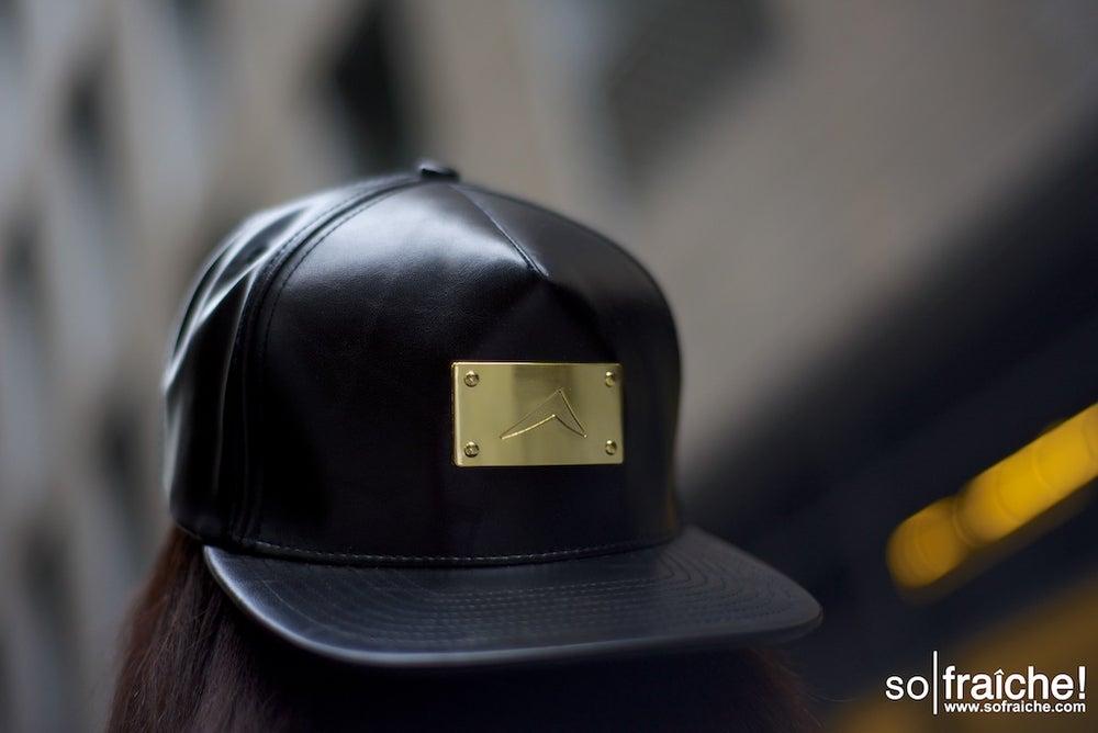 Image of Black Leather Snapback