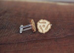 Image of Handmade 45 RPM Record Adapter Cufflinks - Yellowheart Wood