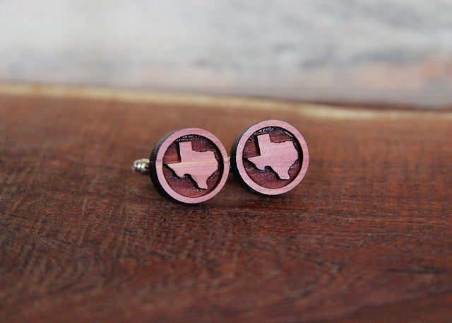 Image of Handmade Wood Texas Cufflinks - Aromatic Cedar