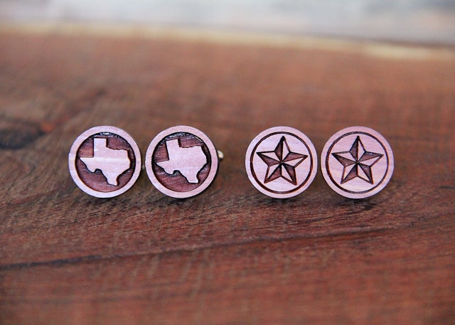 Image of Handmade Wood Texas Lone Star Cufflinks - Aromatic Cedar