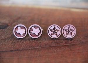 Image of Handmade Wood Texas Lone Star Cufflinks - Aromatic Cedar