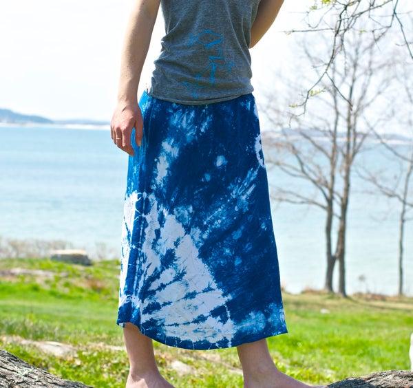 Image of Indigo Shibori Skirt- Hand Dyed, one of a kind bias cut tulip skirt