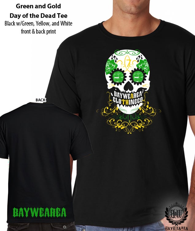 Image of Green and Gold Oakland A's Day of the Dead Unisex Soft-Style Tee Shirt