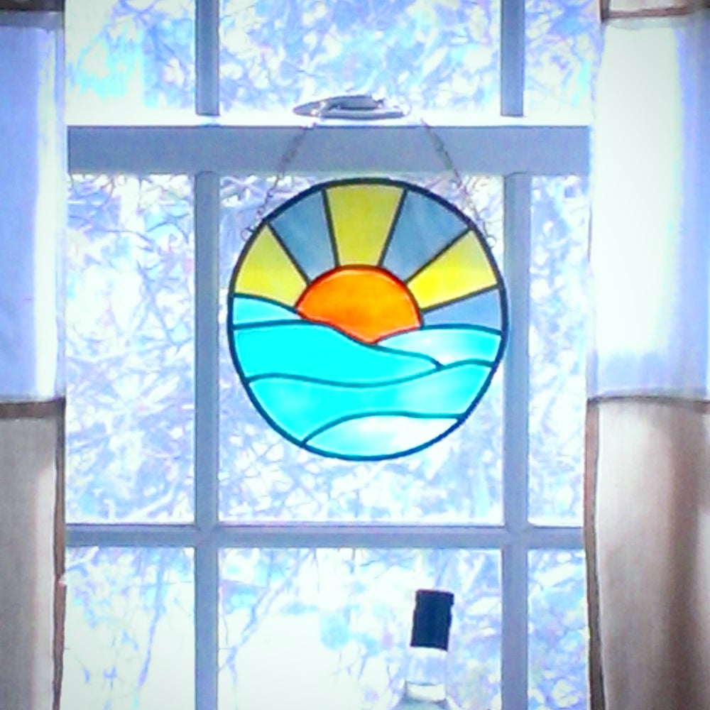 Image of Ocean Sunset-stained glass