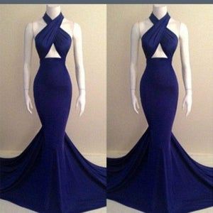 Image of Navy Blue Halter Mermaid Prom Dress With Cut Out Bodice