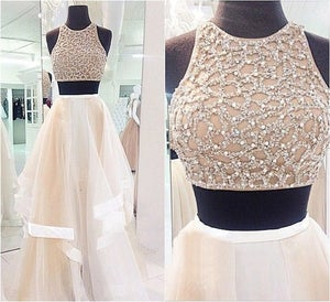 Image of 2015 Ivory Tulle Halter Two Piece Prom Dress