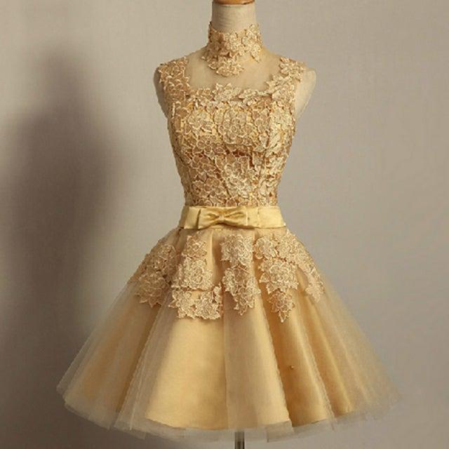 Gold lace cocktail dresses