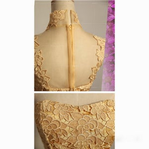 Image of Gold Lace High Neck Cocktail Dress With Sheer Back