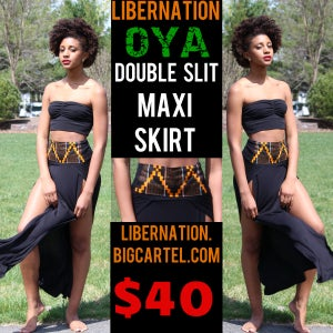 Image of LiberNation Black/Orange Slit Skirt