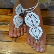 "Image of ""Lacey "" Crochet Barefoot Sandals"