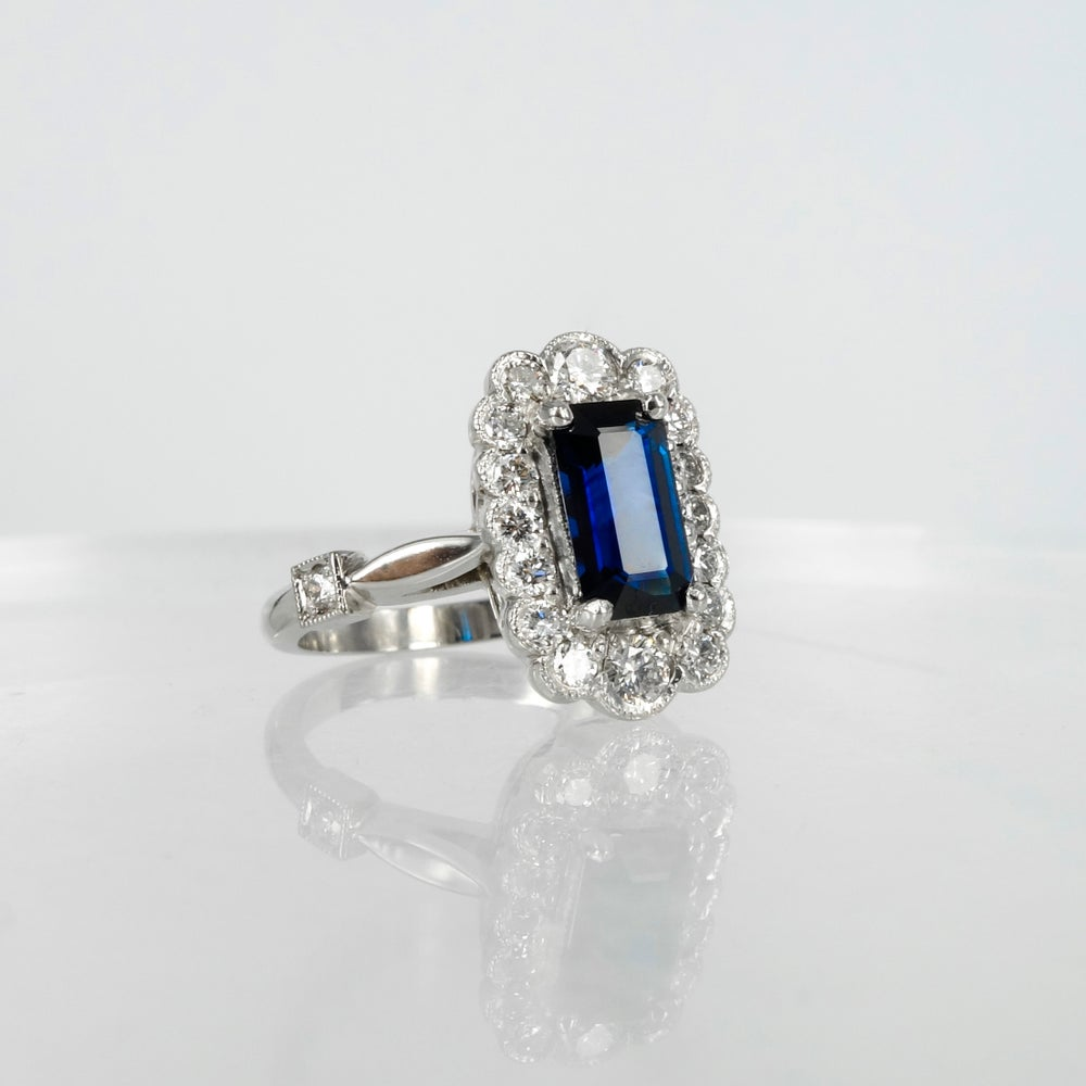 Image of PJ4092 18ct white gold art deco emerald cut blue Sapphire