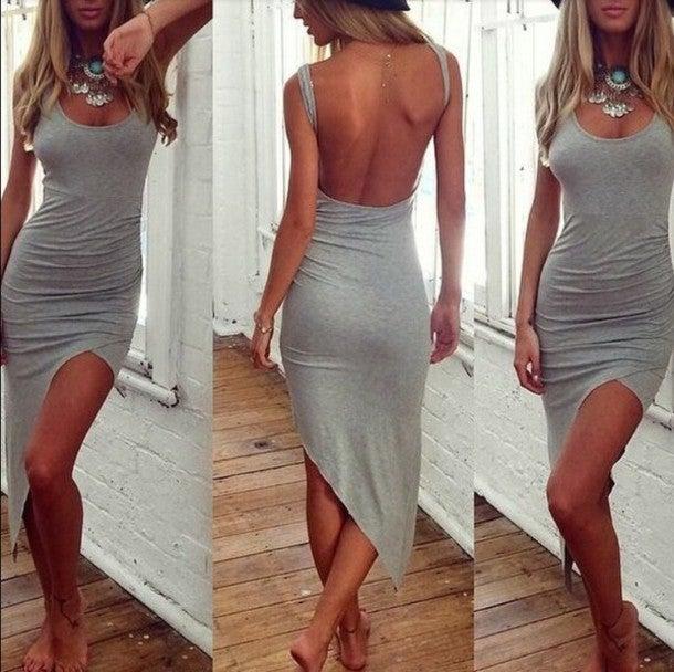Image of CUTE GREY SEXY VEST DRESS